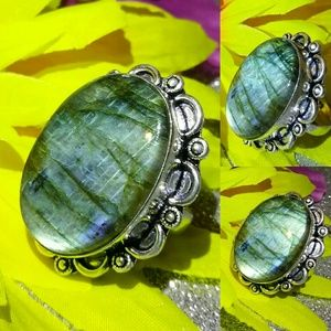 Flashy Labradorite Gemstone Handmade Vintage Ring